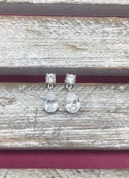 Cubic Zirconia Tear Drop and Round Earrings