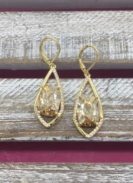 Gold Dangle Earrings with Cushion Cut Morganite Stone