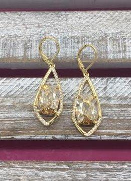 Gold Dangle Earrings with Cushion Cut Morganite Stone