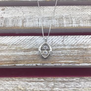 "Cubic Zirconia ""Dancing Diamonds"" Oval Double Necklace"