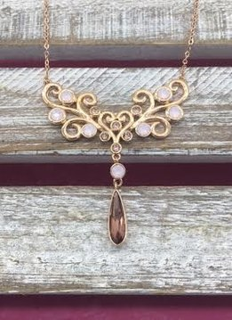 Swarovski Crystal Rose Gold Bib Necklace