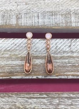 Swarovski Crystal Rose Gold Drop Earrings