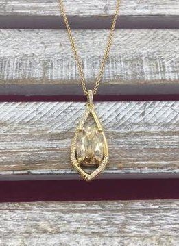 Gold Dangle Necklace with Cushion Cut Morganite Stone