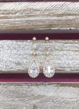 Cubic Zirconia Rose Gold Tear Drop Dangle Earrings