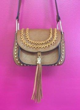 Brown Tassel Studded Leather Crossbody Purse