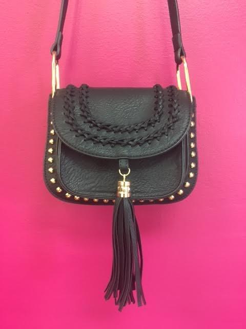 Black Tassel Studded Leather Crossbody Purse