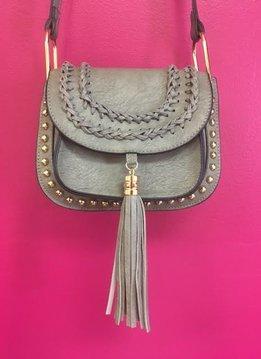 Grey Tassel Studded Leather Crossbody Purse