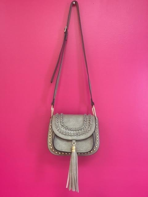 Grey Tassel Studded Leather Crossbody Purse