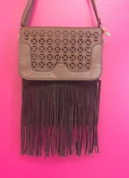Brown Leather Laser Cut Fringe Crossbody Purse