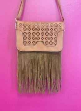 Tan Leather Laser Cut Fringe Crossbody Purse