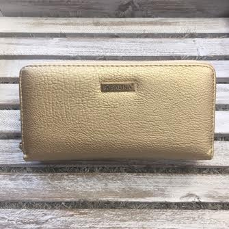 Double Pocket Gold Leather Clutch Wallet