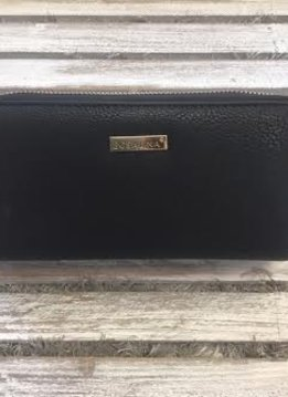 Double Pocket Black Leather Clutch Wallet