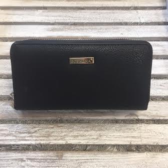 Double Pocket Black Leather Clutch Wallet