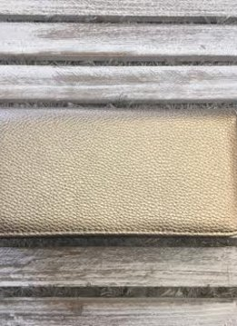 Pewter Leather Wallet with Zipper and Snap Flap