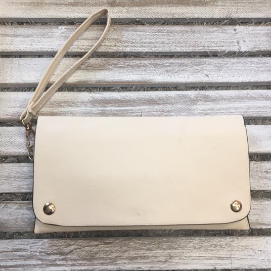 Beige with Gold Studs Snap Flap Wallet Clutch