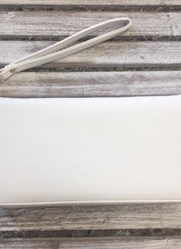 White Zip Up Wallet with Pocket and Strap