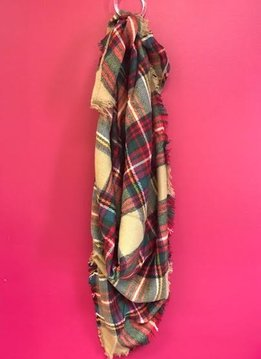 Beige and Mutli-Colored Plaid Triangle Scarf