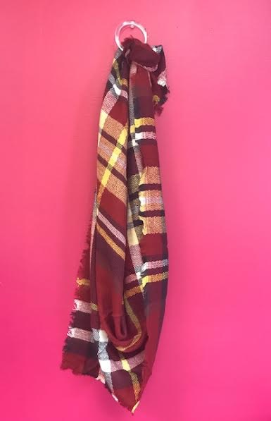 Burgundy and Yellow Plaid Triangle Scarf