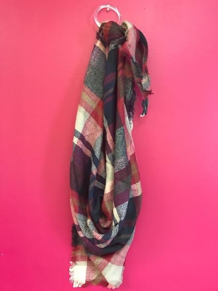 Dark Pink and Green Plaid Triangle Scarf