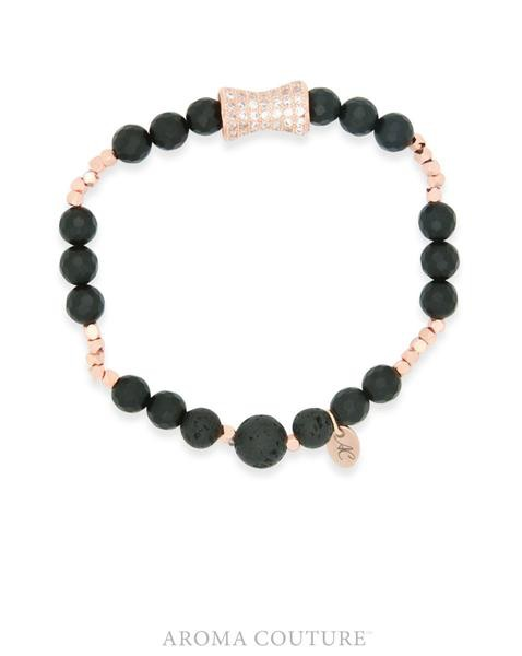 Rose Gold and Matte Onyx Lava Rock Diffuser Bracelet