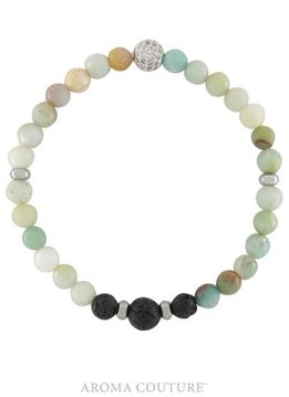 Stackable Amazonite Lava Rock Diffuser Bracelet