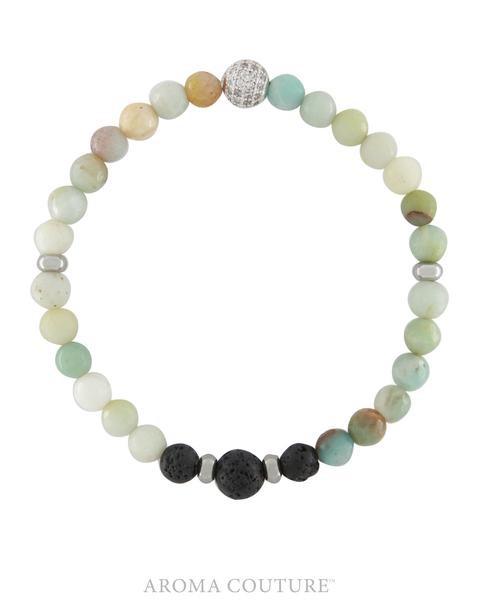 Stackable Amazonite Lava Rock Diffuser Bracelet