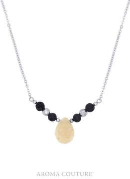 Hadley Druzy and Hematite Diffuser Necklace