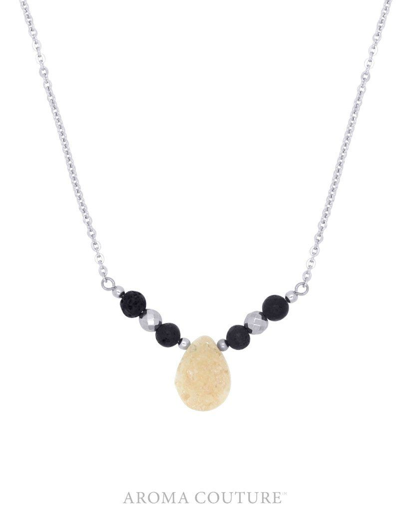 Hadley Druzy and Hematite Diffuser Necklace