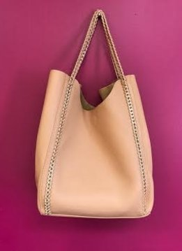 Tan Leather 2 in 1 Chained Shopper Tote Bag