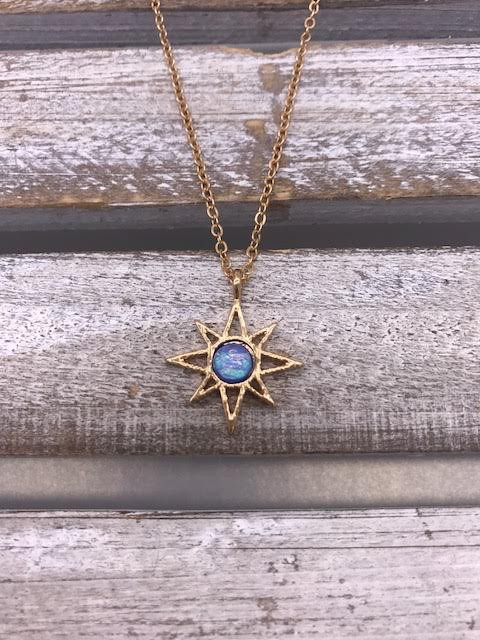 Gold Star Opal Celestial Necklace