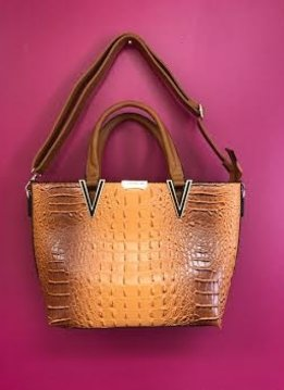Brown Crocodile Print Leather Handbag