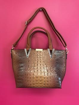 Coffee Crocodile Print Leather Handbag