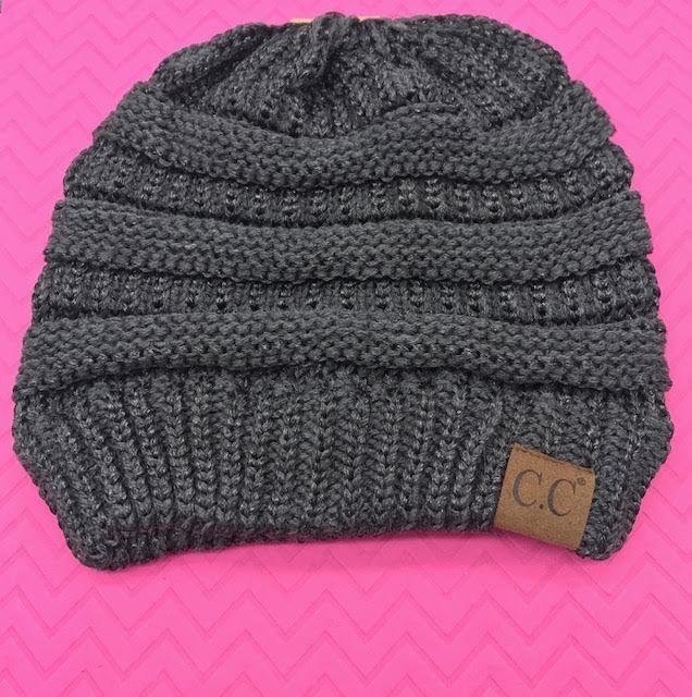 C.C Two Toned Dark Grey Metallic Knit Beanie Hat