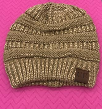 C.C Two Toned Gold Metallic Knit Beanie Hat