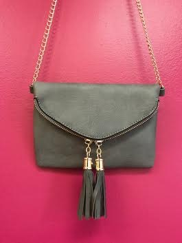 Grey Envelope Leather Cross Body Purse with Tassel Zippers