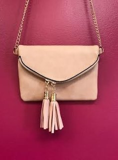 Pink Envelope Leather Cross Body Purse with Tassel Zippers