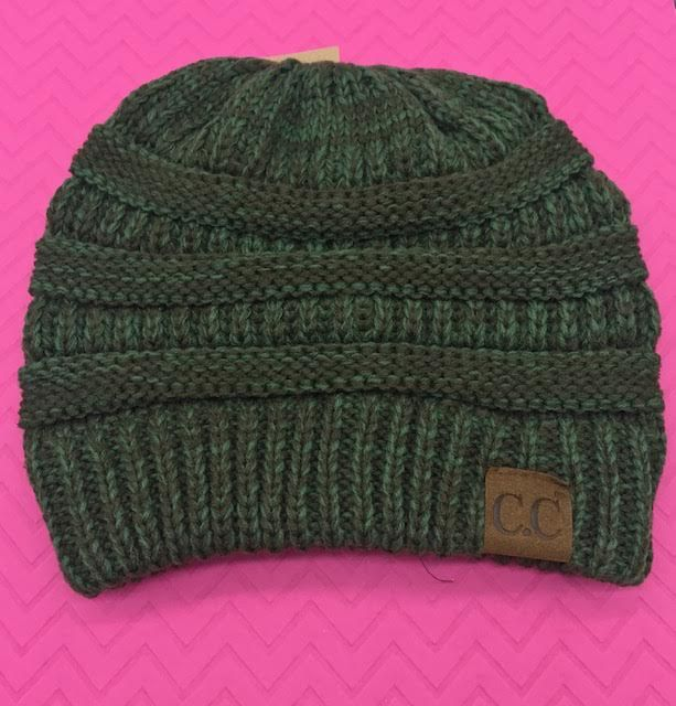 C.C Two Toned Olive Knit Beanie Hat
