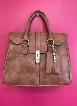 Brown Leather Designer Satchel Purse with Long Strap