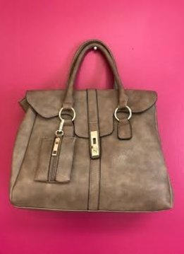 Stone Leather Designer Satchel Purse with Long Strap