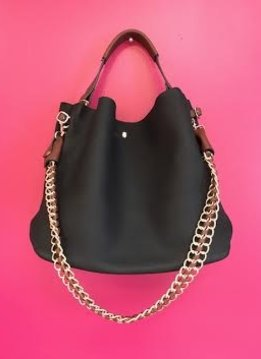 Black Double Strap Chic 2 in 1 Satchel Purse