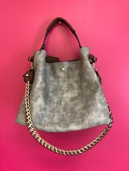 Grey Double Strap Chic 2 in 1 Satchel Purse