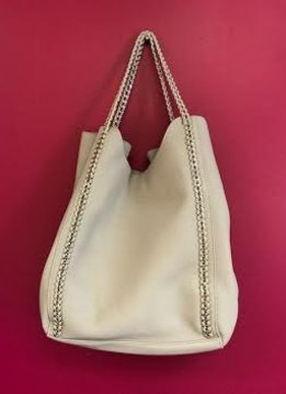 Grey Leather 2 in 1 Chained Shopper Tote Bag