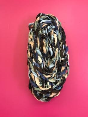 Multicolor Blue Braided Thick Knit Infinity Scarf