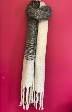 Black Ombre Knit Tassel Scarf