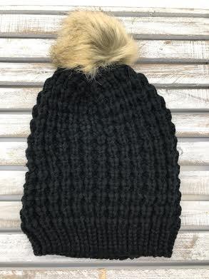 Black Textured Knit Beanie with Fur Pom Pom