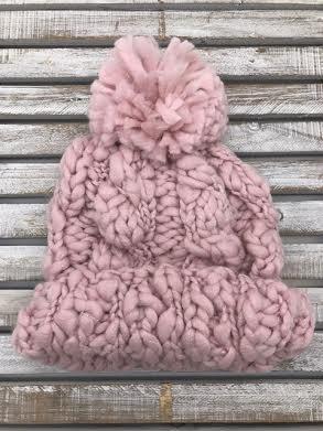 Light Pink Marled Chunky Knit Pom Beanie