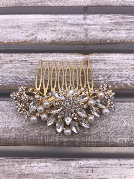 Pearl and Clear Rhinestones Flower Gold Hair Comb