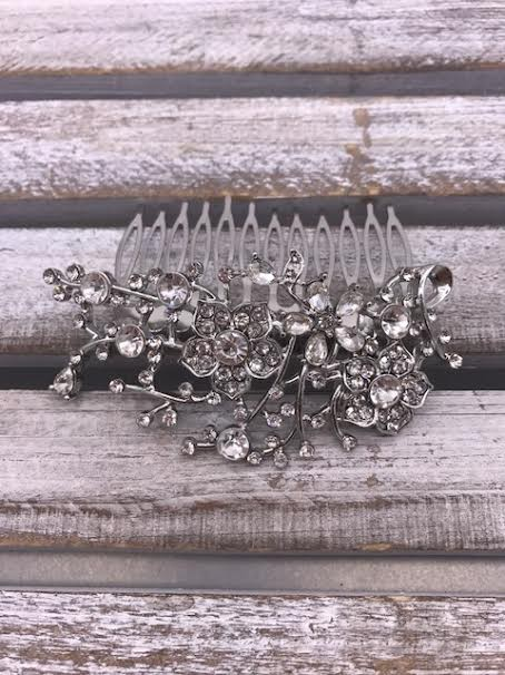 Clear Rhinestone Flowers and Branch Silver Hair Comb