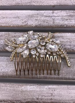 Clear Chunky Rhinestone Gold Hair Comb