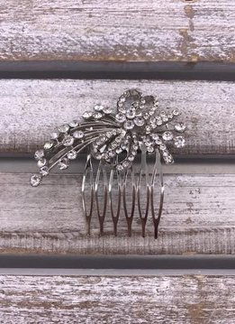 Clear Rhinestone Small Bow and Sprigs Silver Hair Comb